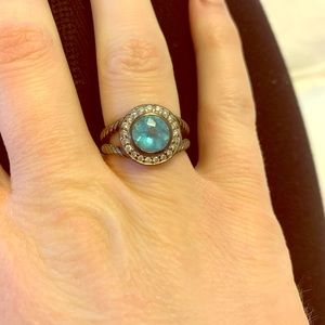 David Yurman Blue Topaz and Diamond Ring Size 7.